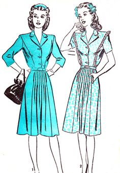 1940s Dress Pattern Advance 3858 Front Button Ruffled Day Dress Womens Vintage Sewing Pattern Bust 32. $12,00, via Etsy.