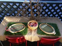 "Weaving through old wooden tennis rackets - from Fingadingadoo ("",)"