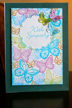 Sympathy Butterflies - Spellbinders mask and hand embossed.  Martha Stewart butterfly stamps and punch, Martha Stewart butterfly border punch.