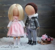 Hand made Soft doll couple, pink color, Doll girl, American dolls, Collectable dolls, Art doll, Unique magic dolls by Master Margarita Hilko