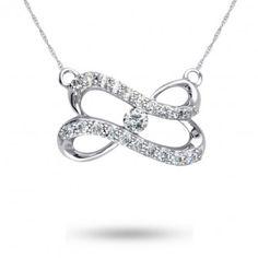 Forever Heart, 10K White Gold Diamond Pendant, 1/5 ctw.