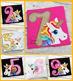 Rainbow Unicorn Birthday Set Digital Machine Embroidery