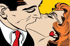 Quality Kiss Pop Art Wall Mural, custom made to suit your wall size by the UK's No.1 for wall murals. Custom design service and express delivery available.