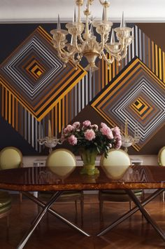 Dining Room - Geometric, modern with a few hits of traditional flourish in this dining area....bold, clever and free.