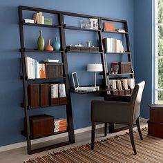"Sloane Espresso Leaning Desk with 2 25.5"" Bookcases in Bookcases, Cabinets 