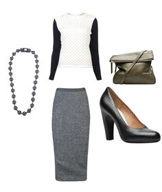 Wear Yigal sweater for work!   Maison Martin Margiela necklace and shoes  Rick Owens skirt  Olivia Harris bag
