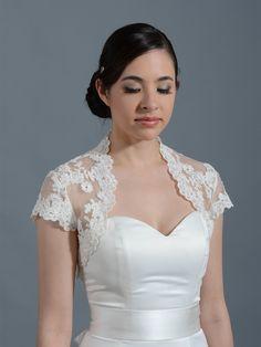 Ivory cap sleeve bridal alencon lace bolero jacket Lace_065