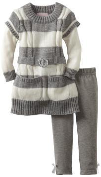 Baby Girls 2 Piece Striped Sweater Set