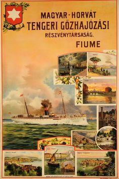 Hungary History, Dubrovnik, Travel Posters, Ephemera, Painting, Advertising, Steam Boats, Painting Art, Paintings
