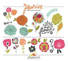 Peonies Hand-Drawn Vector Art is a delightful set of hand-drawn floral graphic elements, perfect for invitations, stationary, printables, home decor or crafting. You will get 17 colored elements in vector format (eps and adobe illustrator) as well as 300 dpi rasterized artwork in .png format. By purchasing and downloading this artwork, you agree to the Little Yellow Finch License Agreement. ©2014 All Rights Reserved Little Yellow Finch