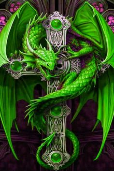 # DRAGON ON A CELTIC CROSS IN GREEN BY ANNE STOKES