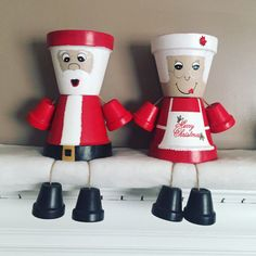 Mr. and Mrs. Claus /flower pot/ indoor decor/ outdoor decor/ garden statue/ christmas decor/ christmas/ flower pot people