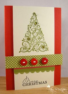 Christmas tree card with red buttons....love this!  It would be easy to make in quantity.