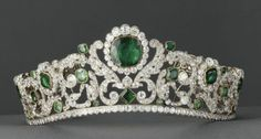 Diamond and emerald tiara, designed by Jacques-Evrard Bapst for the Duchesse d'Angouleme, early century. Under the Empire, the tiara was worn by the Empress Eugenie, who was particularly fond of emeralds. Royal Crowns, Royal Tiaras, Crown Royal, Tiaras And Crowns, Diamond Tiara, Emerald Diamond, Royal Jewelry, Circlet, Marie Antoinette