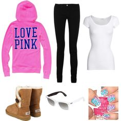 Love Pink;<3  (: Everything except the UGGS and sunglasses #cyber monday ugg boots #cyberweek