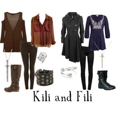 """Kili and Fili"" by michelle-geiser on Polyvore... Dude ash if we ever dressed like this to Wednesday night..., and we told the guys we wud get the look"