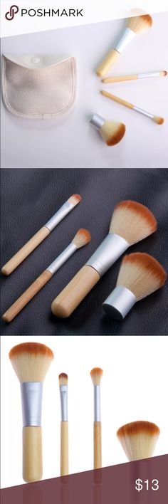 4 kabuki brushes with bag Feature: 100% Brand New! Superior-quality:Made from natural animal hair,super soft hairbrush. With a cotton bag:It is easy to carry and use.  A high quality brush set is essential for both day time look and evening dating!  Specifications: Material: Goat hair, Aluminum, Wood, and faux Leather Bag size: 12*10*2 cm   Package includes: 1 x 4 Pieces of Makeup Brushes 1 x Cotton Bag Makeup Brushes & Tools