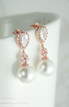 rose gold bridal earrings pearl earringswhite by EndoraJewellery