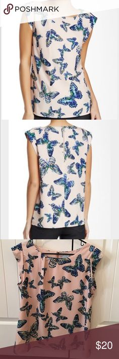CeCe by Cynthia Steffe butterfly blouse CeCe short sleeve butterfly blouse. Zipper closure at the back. Cynthia Steffe Tops Blouses