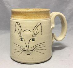 CAT FACE MUG HANDMADE STONEWARE POTTERY SIGNED BY JIM +JINA MAHONEY Face Mug, Cat Face, Sgraffito, Pottery Mugs, Stoneware, Whimsical, Cats, Tableware, Nature