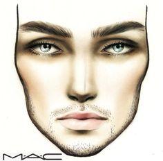 70 Super Ideas For Makeup Face Charts Brows Mac Makeup, Contour Makeup, Wedding Day Makeup, Bridal Makeup Looks, Male Contour, Drag King Makeup, Mac Face Charts, Make Up Designs, Makeup Face Charts