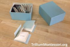 Montessori reading activities for working with longer phonetic words. These are often referred to as the Blue Series activities.