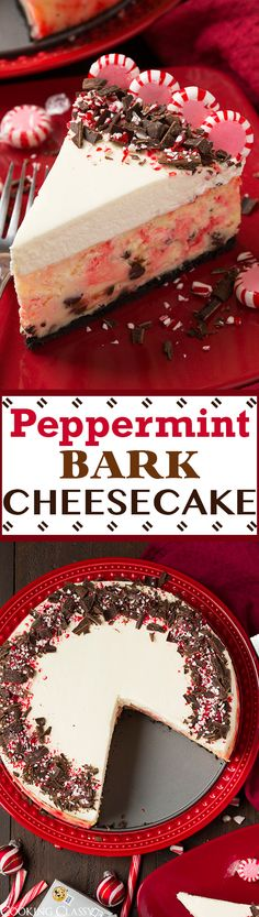 Peppermint Bark Cheesecake - this is a Christmas MUST!! It is perfectly pepperminty and lusciously rich and creamy! The perfect blend of peppermint bark flavors with cheesecake.