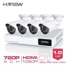 H. 4ch cctv 시스템 720 마력 hdmi 달리 cctv dvr 4 개 1.0 MP IR 야외 보안 카메라 1200 TVL 카메라 감시 시스템