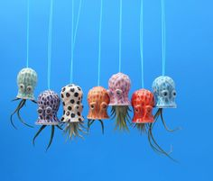 Hanging, Mini Pebbled Octopus Air Planter,   Mother's Day Gift, Window Ornament