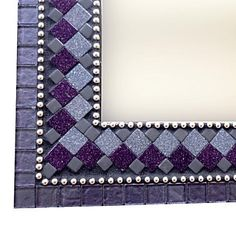 Modern Mosaic Wall Mirror Purple and Black Mosaic Diy, Mosaic Ideas, Mosaic Wall, Mosaic Mirrors, Wall Mirror, Modern Wall Decor, Colored Glass, Purple And Black, Tiles