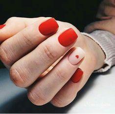 Valentine's Day Nail Designs, Short Nail Designs, Acrylic Nail Designs, Nails Design, Nail Art Saint-valentin, Easy Nail Art, Red Manicure, Red Nails, Red Summer Nails