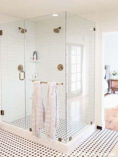 Before & After: A Master Bed + Bath Makeover White master bathroom Home Design, Decor Interior Design, Interior Decorating, Ikea Design, Laundry In Bathroom, White Bathroom, Black And White Master Bathroom, White Shower, Bathroom Showers