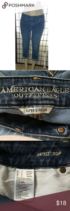 "American Eagle Outfitters Cropped Slim Fit * Power Fit 360, Super Stretch denim * Revolutionary 4-way stretch for advance body contouring that won't bag out *Stretch moves both up & down and side to side *Vertical stretch is designed to lift the butt and help contour the leg *Low 8 7/8"" rise *14 1/8 back rise *70% Cotton, 16% Viscose, 12% Polyester, 2% Elastane American Eagle Outfitters Jeans Ankle & Cropped"
