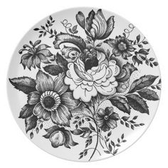 vintage floral art | Silhouette Flower Bouquet Vintage Art Plate from Zazzle.com