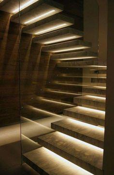 Stairway lighting Ideas with spectacular and moderniInteriors, Nautical stairway, Sky Loft Stair Lights, Outdoors Stair Lights, Contemporary Stair Lighting. Staircase Lighting Ideas, Stairway Lighting, Floating Staircase, Concrete Staircase, Concrete Steps, Iron Staircase, Railing Ideas, Home Stairs Design, Interior Stairs