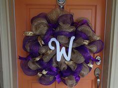 GO DAWGS UW Huskies Door Wreath  College by ParadiseBridal on Etsy