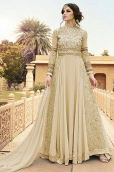 Appealing Cream And Gold Embroidered Georgette Partywear Anarkali #cream #anarkali #glossy #georgette #glossyrhythm