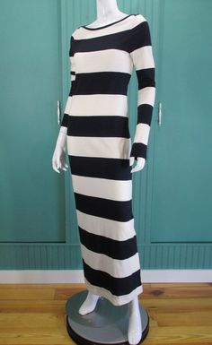 ALC Dress Rugby Striped Jersey Maxi Sheath Navy Blue Size M Excellent #ALC #SheathMaxi