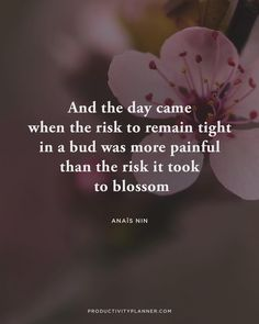 """Put in the work, #beproductive, take the risk to blossom & enjoy life in full bloom """