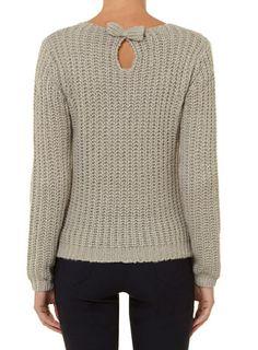 Grey slouchy bow jumper- dorothy perkins