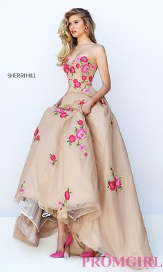 Prom Dresses, Celebrity Dresses, Sexy Evening Gowns: Long A-Long Prom Dress with Floral Appliques by Sherri Hill