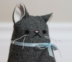 Mr Minou Repurposed Wool Plush Cat well hello cute stuffed kitty