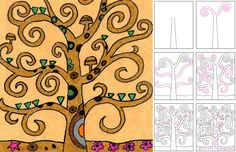 Art Projects for Kids: Draw Klimt's Tree of Life. Using metallic colored pencils on paper bags or light brown roll paper