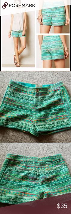 """ELEVENSES Anthropologie Costa Embroidered Shorts 6 Elevenses from Anthropologie  Costa woven shorts  Size 6 Slightly higher waist Tailored Beautiful bright colors!! Great preowned condition  16"""" waist, 9.5"""" rise and 4"""" inseam. Perfect for spring/summer! Anthropologie Shorts"""