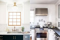 Say Goodbye to Your Backsplash: Tiled Kitchen Walls Are Trending - Kyong Millar's Salt Lake City Tudor Kitchen (left) and the Ohio cook space of @House214Design. Brooke Davis; @house214design