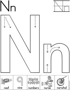 Alphabet Letter N Worksheet | Standard Block Font | Preschool Printable Activity