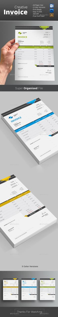 #Invoice - #Proposals & Invoices #Stationery Download here: https://graphicriver.net/item/invoice/12965591?ref=alena994