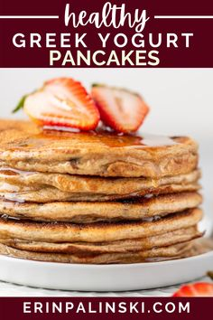 This greek yogurt pancake recipe is super easy to make and a healthy alternative to regular pancakes. You only need greek yogurt, water, an egg, whole wheat pastry flour, baking soda, and some dark chocolate chips! Making a healthy breakfast has never been easier!