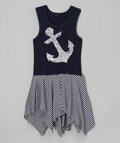 Navy Stripe Handkerchief Dress - Infant, Toddler & Girls by CopyCat Couture #zulily #zulilyfinds