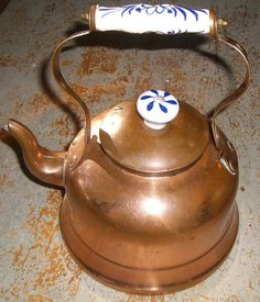 Vintage Tea Kettle Copper with Ceramic Accents by TheBackShak